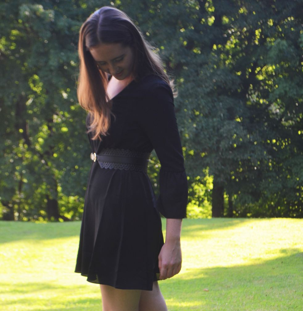 h&m little black dress shift trumpet flared sleeves black waist belt leather statement earrings j. crew silver ballet flats how to wear how to style fall fashion outfit of the day