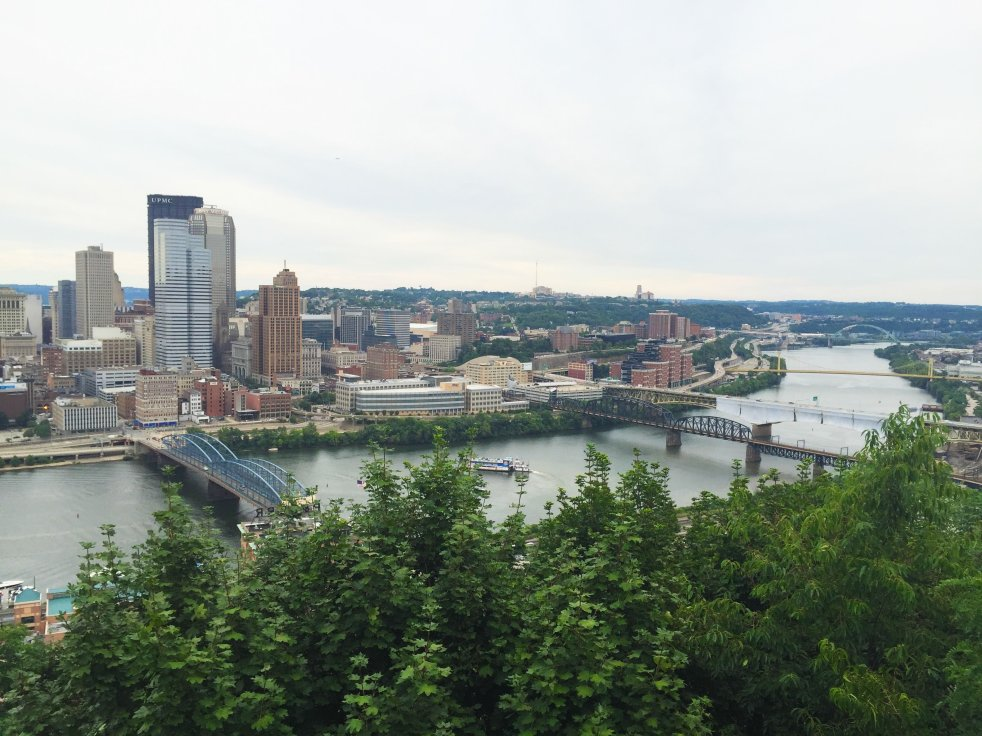 downtown pittsburgh river mount washington mt. skyline bridges trees summer barge coal study tips stressful stress semester college survival how to be happy not stressed relaxed