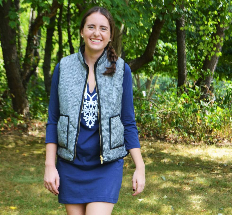 how to wear lilly pulitzer in fall winter preppy fashion outfit of the day herringbone vest j. crew riding boots classic style fashion navy and white dress