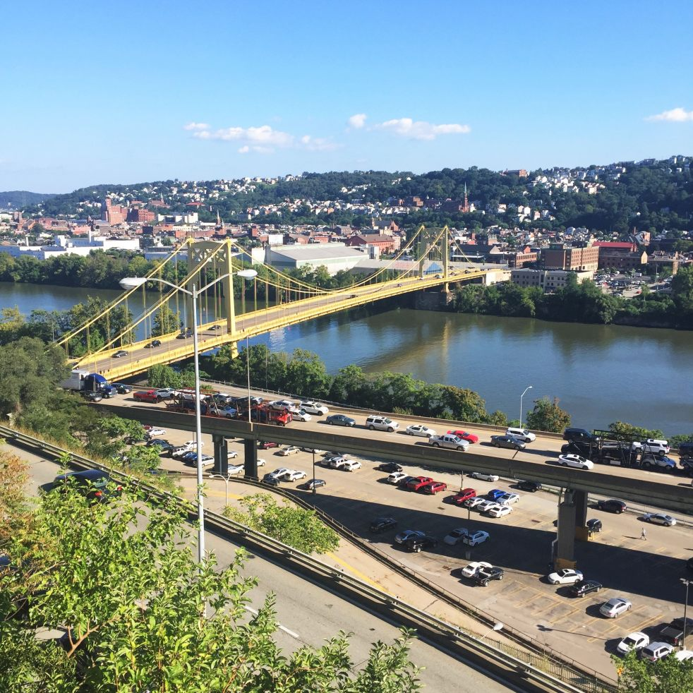 pittsburgh 10th street bridge south side flats river duquesne university downtown parkway traffic cars sunshine summer fall