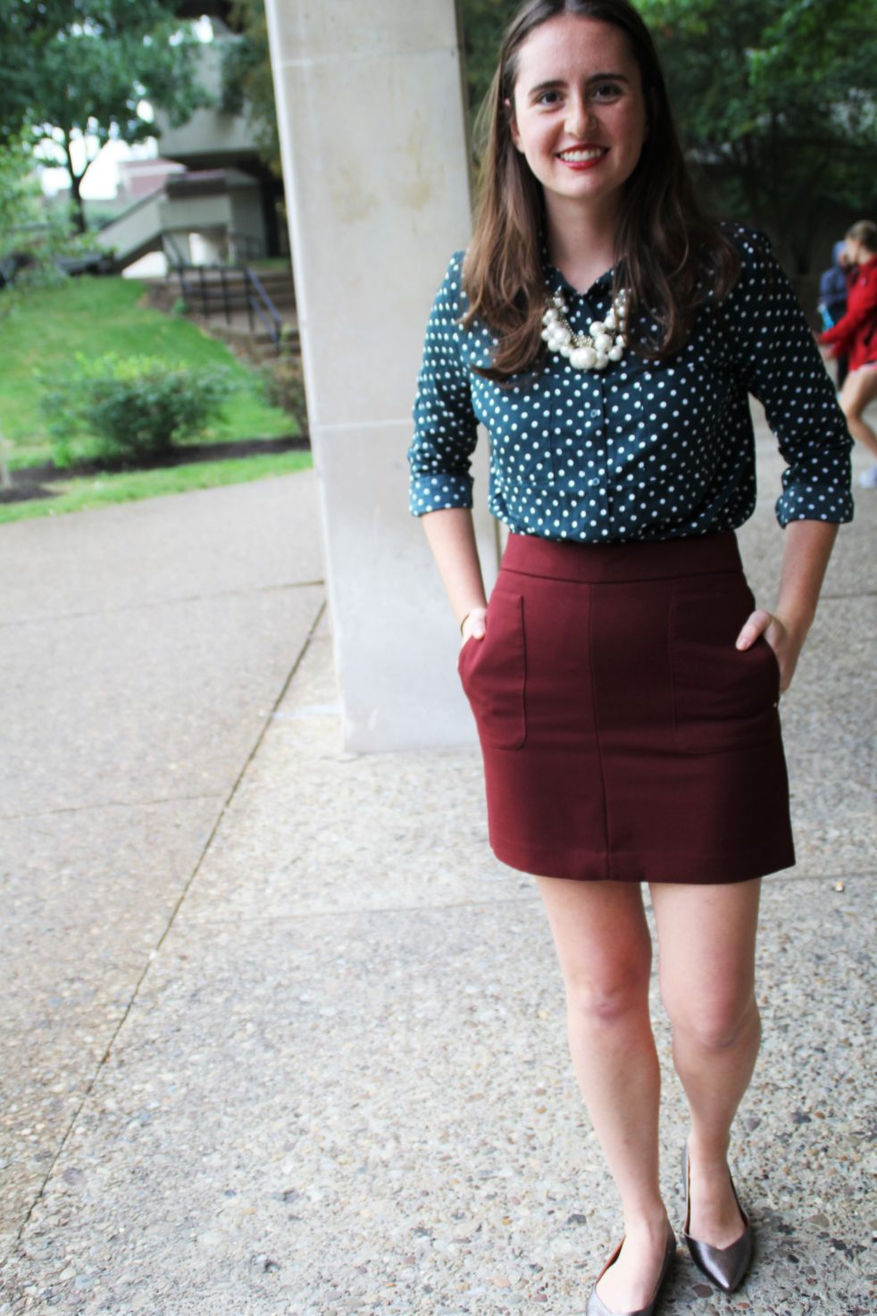 preppy h&m polka dot blouse shirt top burgundy skirt maroon oxblood silver pewter metallic flats platinum pearl necklace outfit of the day blogger fashion fall ootd