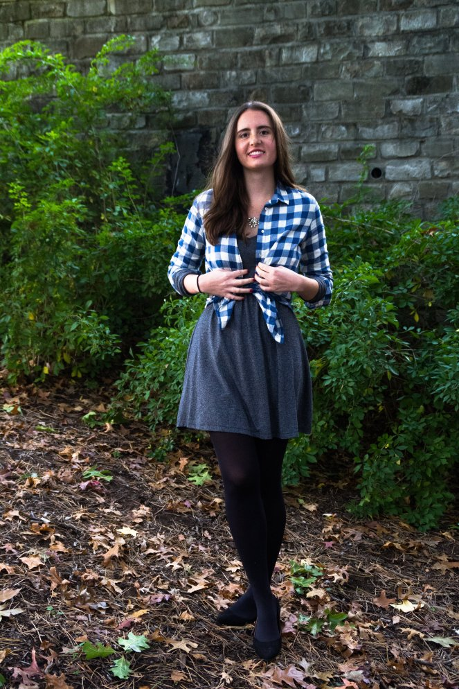 gray swing shift trapeze dress blue plaid checked shirt statement crystal necklace j crew black tights ankle flats pointed ootd outfit of the day fashion blog fall pinterest outfit inspiration what to wear how to wear autumn casual