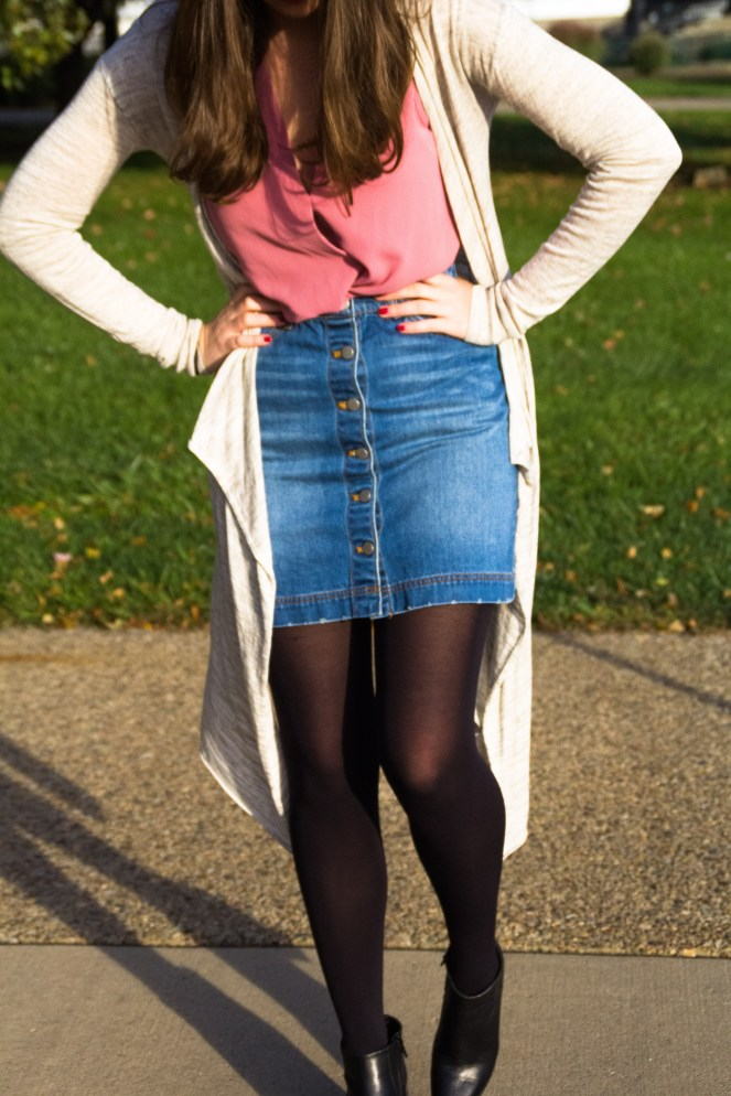 outfit of the day ootd fashion blog pinterest fall autumn pink top tank top blouse topshop thin long sweater h&m tan denim button down skirt tights ankle boots booties leather heel