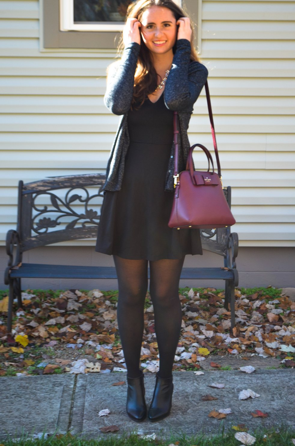 ootd outfit of the day fall thanksgiving winter christmas holiday style preppy classic moments of a mermaid momentsofamermaid blog pittsburgh kate spade bow bag autumn what to wear how to wear dress cardigan h&m american eagle zara ankle boots leather festive stylish pinterest inspiration maroon burgundy purse cozy warm black gray