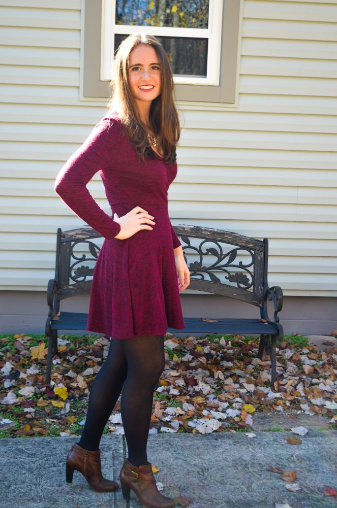 thanksgiving outfit of the day dress francescas maroon burgundy cranberry wrap dress comfortable what to wear how to dress the best momentsofamermaid moments of a mermaid preppy classic fall autumn holiday season christmas festive party dinner look nice fancy dress up j crew