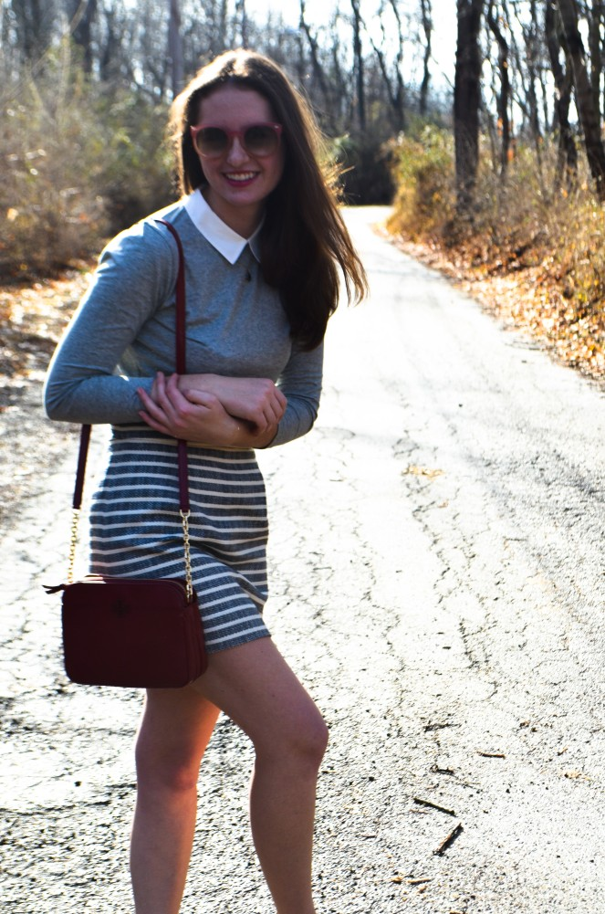 j. crew factory spring new arrivals ootd outfit of the day blog preppy blog preppy blogger classic style fashion lookbook momentsofamermaid moments of a mermaid preppy spring outfit summer warm weather tory burch purse red coach brown leather loafers navy white striped skirt blue gray collared shirt t-shirt