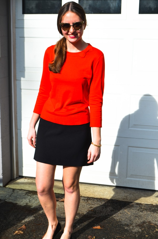 kate spade bow sweater cat eye sunglasses ootd outfit of the day momentsofamermaid moments of a mermaid blog fashion preppy style classic black skirt valentine's day what to wear winter