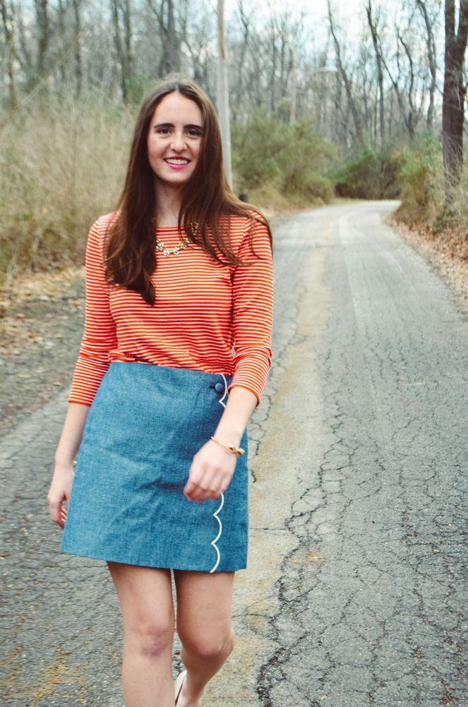 j crew scalloped chambray skirt striped red t shirt statement necklace momentsofamermaid moments of a mermaid ootd outfit of the day style fashion blog blogger preppy classic flats h&m kate spade bow bracelet bangle stripes sailor spring summer what to wear classic style new england pittsburgh
