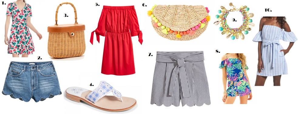 momentsofamermaid moments of a mermaid fashion 10 things you need for summer 10 pieces you need for summer fashion style ootd lookbook preppy blog blogger momentsofamermaid moments of a mermaid may 2017 summer 2017 draper james jack rogers gingham off-the-shoulder dress romper sandals scalloped shorts pom pom clutch lilly pulitzer nordstrom
