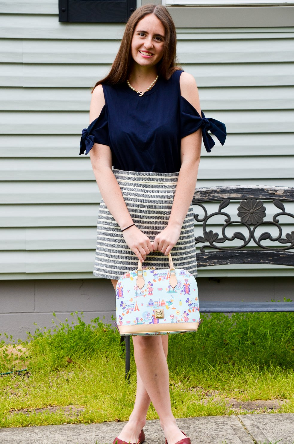 ootd outfit of the day cold shoulder bow top bow tie sleeves momentsofamermaid moments of a mermaid blogger blog fashion style preppy lookbook spring summer what to wear j crew h&M scalloped leather red flats striped skirt dooney & bourke disney world flower and garden festival bag purse pearl necklace kiel james patrick kjp off the shoulder