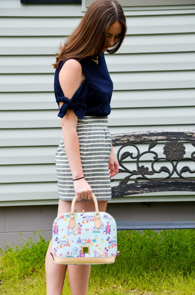 ootd outfit of the day cold shoulder bow top bow tie sleeves momentsofamermaid moments of a mermaid blogger blog fashion style preppy lookbook spring summer what to wear j crew h&M scalloped leather red flats striped skirt dooney & bourke disney world flower and garden festival bag purse pearl necklace kiel james patrick kjp